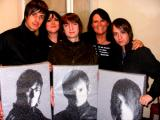 The Enemy with my daughter Amber and myself and the paintings I did for them at Moho Live in Manchester 5th November 2009. Tom Clarke liked them so much he ordered some more!!