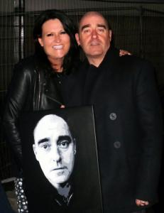 Paul 'BONEHEAD' Arthurs, ex Oasis now with The Vortex, and me with the portrait that now hangs in his home studio